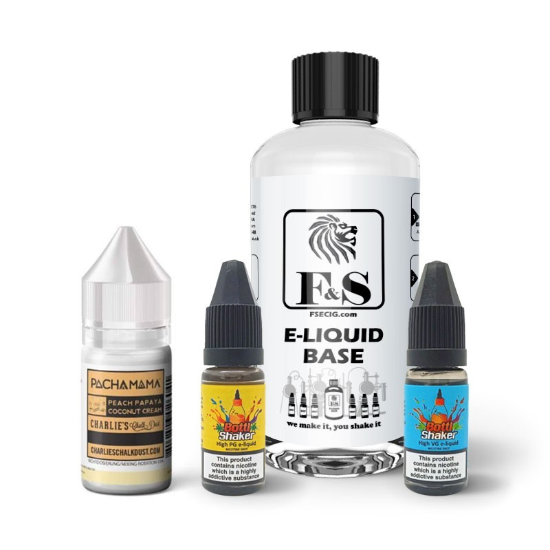 Peach Papaya Coconut Cream by Pacha Mama and F&S Custom Base bundle - DIY e liquid kit 240ml