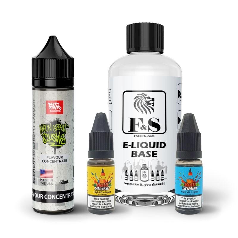 Neon Green Slushie by Element and F&S Custom Base bundle - DIY e liquid kit 240ml