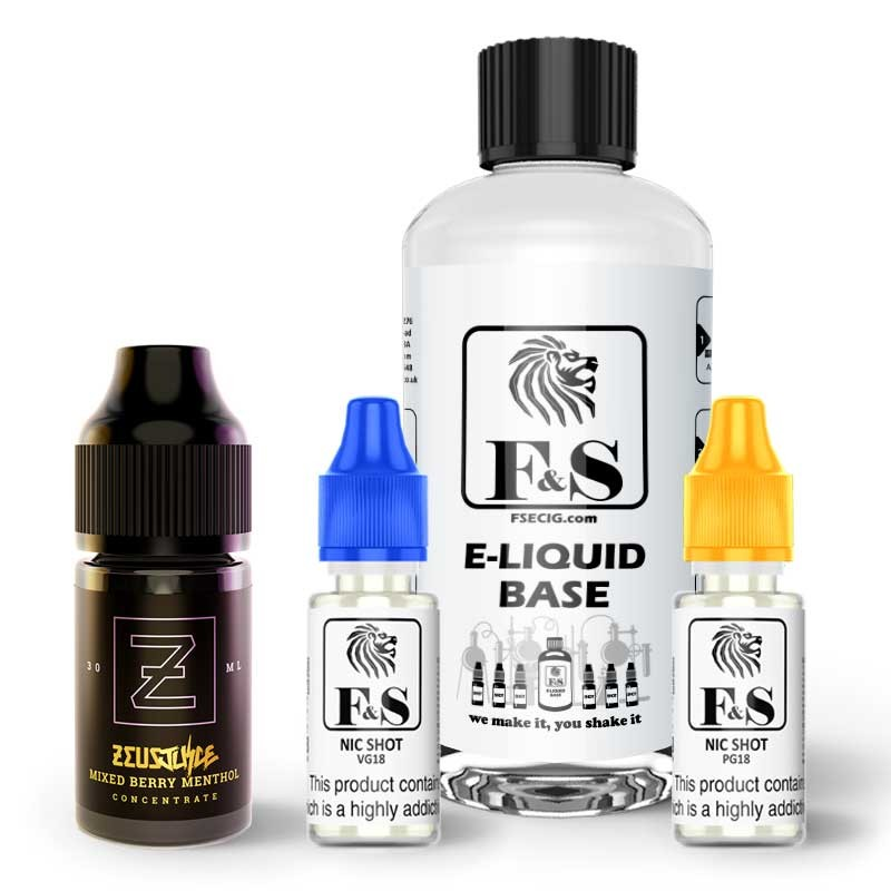 Mixed Berry Menthol by Zeus Juice and F&S Custom Base bundle - DIY e liquid kit 240ml